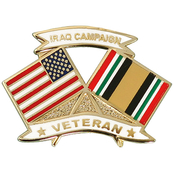 Mitchell Proffitt American and Iraq Campaign Ribbon Veteran Crossed Flags Lapel Pin