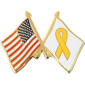 Mitchell Proffitt American and Yellow Ribbon Crossed Flag Lapel Pin
