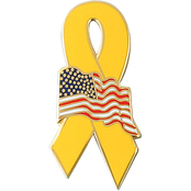 Mitchell Proffitt Yellow Ribbon Lapel Pin with American Flag