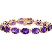 Sofia B. Oval-Cut Amethyst Tennis Bracelet in Rose Plated Sterling Silver