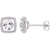 Sofia B. Created White Sapphire and Diamond Accent Halo Earrings in 10K White Gold