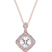 Sofia B. Rose Plated Silver Diamond & Created White Sapphire Halo Necklace 18 in.