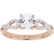 Sofia B. 10K Rose Gold 1/10 CTW Diamond Created White Sapphire Infinity Ring
