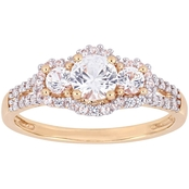 Sofia B. 10K Rose Gold 1/10 CTW Diamond Created White Sapphire 3-Stone Halo Ring
