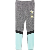 Pony Tails Girls Color Block Glitter Graphic Active Leggings