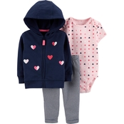 Carter's Infant Girls 3 pc. Hearts Cardigan Set