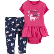 Carter's Infant Girls Unicorn Peplum Bodysuit and Pants 2 pc. Set