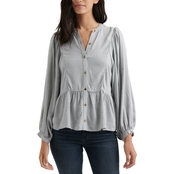 Lucky Brand Heather Solid Peasant Top
