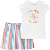 Carter's Little Girls Unicorn Top and Rainbow Skort 2 pc. Set