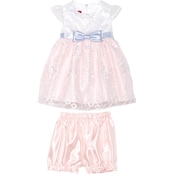 Princess Faith Infant Girls Embroidered Dress with Bow