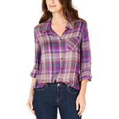 Style & Co Plaid Roll-Tab Shirt