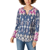 Style & Co Printed Split-Neck Roll-Tab Top