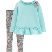 Carter's Toddler Girls Bow Ruffle Top and Floral Leggings 2 pc. Set