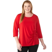 Calvin Klein Plus Size 3/4 in. Jersey Knit Top with Side Lacing