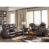 Signature Design by Ashley Warnerton Power Reclining Sofa and Loveseat Set