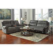 Signature Design by Ashley Austere Reclining Sofa and Loveseat Set