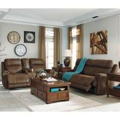 Signature Design by Ashley Austere Reclining Sofa, Loveseat and Recliner Set