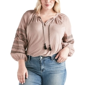 Lucky Brand Embroidered Print Peasant Top