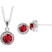 Sterling Silver Created Ruby And White Topaz Pendant And Earrings Set