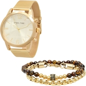 HMY Jewelry Men's Gold Plated Mesh Watch and Beaded Link Bracelet Set