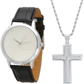 HMY Jewelry Men's Gold Plated Prayer Watch and Cross Set