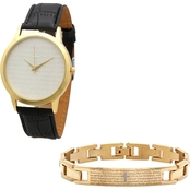 HMY Jewelry 18K Gold Over Stainless Steel Lord's Prayer Watch and Bracelet Set