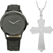 HMY Men's Ion Plated Bicast Leather Prayer Watch and Pendant Set 998019618480P