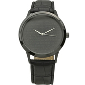 Black  Bicast Leather Black IP Prayer Watch