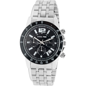 HMY Jewelry Men's Black Ion Plated Chronograph Stainless Steel Strap Watch 998029W