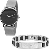 HMY Jewelry Men's Black Prayer Stainless Steel Mesh Watch and Bracelet Set