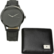 HMY Jewelry Men's Black Ion Plated Prayer Watch and Leather Wallet Set