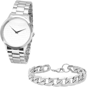 HMY Stainless Steel Strap Prayer Watch and Link Bracelet Set