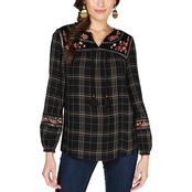 Style & Co. Plus Size Embroidered Plaid Peasant Top