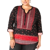 Style & Co. Plus Size Printed Split Neck Top