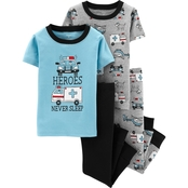 Carter's Toddler Boys Heroes Never Sleep Pajamas 4 pc. Set