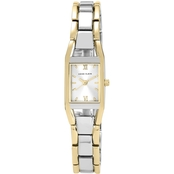 Anne Klein Women's Two Tone Rectangular Bracelet Watch 17.5 mm 1660279