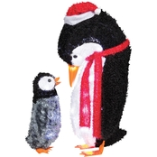 Gemmy Fuzzy Mommy and Baby Penguin Figure