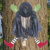 Tree Trunk Witch With Red Shoes