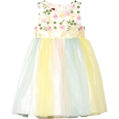 Princess Faith Multi Color Rainbow Skater Dress