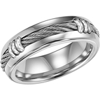 Triton Stainless Steel Rope Wedding Band, Size 10