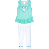 Gumballs Toddler Girls Lace Top and Leggings 2 pc. Set