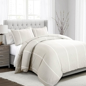 Drew Stripe Duvet Cover Taupe 3pc Full/Queen