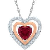 14K Rose Gold Over Sterling Silver White Sapphire Ruby Heart Pendant 18 in.