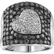 Sterling Silver 2 CTW  Enhanced Black and White Diamonds Heart Ring