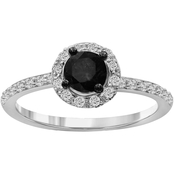 Sterling Silver 3/4 CTW Black and White Diamonds Bridal Ring