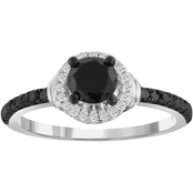 Sterling Silver 1 CTW Black and White Diamond Bridal Ring Size 7