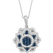 She Shines Sterling Silver 1/2 CTW Blue and White Diamond Flower Pendant