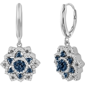 She Shines Sterling Silver 1/2 CTW Blue and White Diamond Flower Earrings