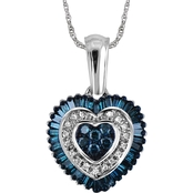 Sterling Silver 1/2 CTW Blue and White Diamond Heart Pendant