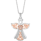 She Shines Sterling Silver and 14K Plated 1/7 CTW White Diamond Angel Pendant